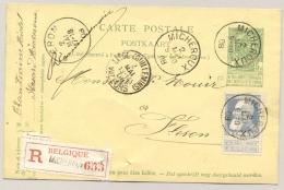 België - 1908 - 25c Bijfrankering Op R-Briefkaart Van Micheroux Naar Fleron - Postwaardestukken