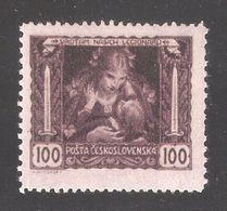 Czechoslovakia 1919,100h Perf 13 3/4 × 11 1/2,Sc B128,Mi38Fa,VF Mint Hinged*OG - Czechoslovakia