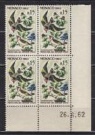 MONACO 1962 - BLOC DE 4 TP  Y. T. N° 583 - COIN DE FEUILLE / DATE / NEUFS ** - Mónaco