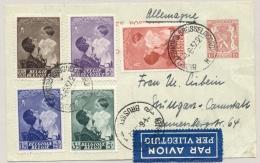 België - 1937 - 5 Zegels Astrid / Boudewijn Op Briefkaart Per Luchtpost Van Brussel Naar Stuttgard / Deutschland - België