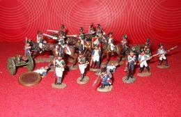 Guerres  Napoléoniennes - Miniatures - Artilleurs Canons Soldats Cavaliers  - 20 P - Delprado ? - Tin Soldiers