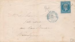 Env 1864 Cachet BLEU Boulogne S Seine Avec 20 C B/TTB Signée Calves. - 1862 Napoleon III