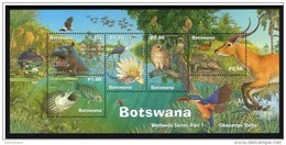 BOTSWANA 2000 WETLANDS SERIES PART 1 BIRDS ANIMALS FAUNA WILDLIFE NATURE SHEET OF 5V - Botswana (1966-...)