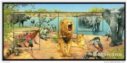 BOTSWANA 2001 WETLANDS SERIES PART 2 BIRDS ANIMALS FAUNA WILDLIFE NATURE SHEET OF 5V - Botswana (1966-...)