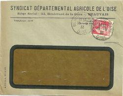 OISE - Dépt N° 60 = BEAUVAIS GARE 1933 = CACHET MANUEL A4 + En-tête SYNDICAT AGRICOLE + POTAZOTE - Handstempel