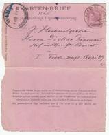 Austria Postal Stationery For Pneumatic Post Karten-Brief 1891 B180205 - Interi Postali