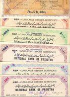 R28- Lot Of 6 NBP & UBL National Bank Of Pakistan Cumulative Deposit Certificates. - Pakistan
