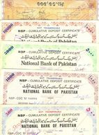 R30- Lot Of 5 NBP & UBL National Bank Of Pakistan Cumulative Deposit Certificates. - Pakistan