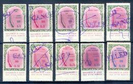 R46- Lot Of Ten Different Pakistan Arms Licenece Revenue Stamps. Sindh Province. - Pakistan