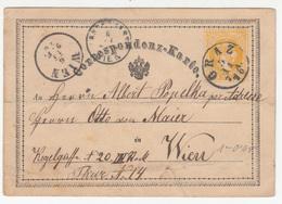 Austria Postal Stationery Postcard Correspondenz-Karte 1870 Graz To Wien B180205 - Interi Postali