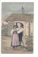 19279 - Couple Dansant Devant Maison Signé Ernest Prague - Paare