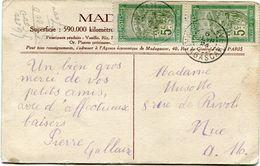 MADAGASCAR CARTE POSTALE DEPART TAMATAVE 6 FEVR 24 MADAGASCAR POUR LA FRANCE - Madagascar (1889-1960)