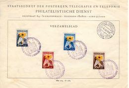 1 - IX - 1949 Herinneringsblad Met Serie NVPH 538-541 Met Gelegenheidsstempel Ronde Tafel Conferentie - Briefe U. Dokumente
