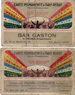 2 Cartes Permanentes A Tarif Réduit Pour Entrée Dans Les Cinépas Par Bar Gaston Et Henri Curnier (102311) - Tickets D'entrée