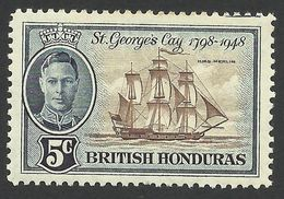 British Honduras, 5 C. 1949, Sc # 134, MH. - British Honduras (...-1970)