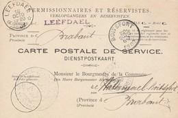 Carte Postale De Service Pour Permissionnaires Et Réservistes -armée -1902 -relais Leefdael - Bertem