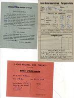 3 Documents Scolaires De SAINT MICHEL DES PERRAIS - PARIGNE LE POLIN - Billet D' Infirmerie- Bulletin De Notes  (102317) - Diplômes & Bulletins Scolaires
