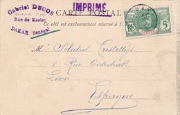 Dakar Senegal Imprimé Faidherbe Pour L'Espagne - Sénégal (1887-1944)