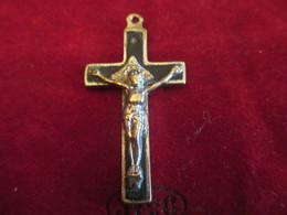 Pendentif /  Croix /Bronze Chromé Et Noirci /   Fin XIXéme Siécle       CAN739 - Religión & Esoterismo