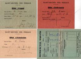 4 Documents Scolaires De SAINT MICHEL DES PERRAIS - PARIGNE LE POLIN -  Bulletin De Notes - Billet D' Appel...  (102319) - Diplômes & Bulletins Scolaires