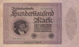 BANKNOTE BILLET GERMAN 1923 100000 MARK-TBE-BLEUP - [ 3] 1918-1933 : Weimar Republic