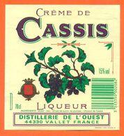 étiquette De Crème De Cassis Distillerie De L'ouest à Vallet  - 15° - 70 Cl - Sonstige