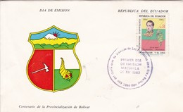 FDC. MACHALA. CENTENARIO DE PROVINCIALIZACION DE BOLIVAR. REPUBLICA DEL ECUADOR-TBE-BLEUP - Equateur