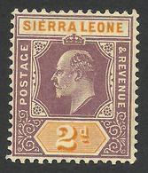 Sierra Leone, 2 P. 1903, Sc # 67, Mi # 45, MH. - Sierra Leone (...-1960)
