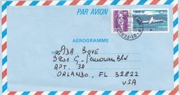 FRANCE -  AEROGRAMME  AVION ATR 72  Yv 1018 AER 4.20 + 2619 0.50 - FERNEY-VOLTAIRE 17.11.2010 POUR ORLANDO U.S.A.  / 1 - Aérogrammes
