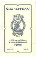 Livre Catalogue Cycles Bettina, Tours ( Vélos ) - Publicités