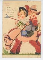 """ENFANTS - Jolie Carte Fantaisie Enfants Sur Cheval """"LA PROVENCE - Partons Aux SAINTES MARIES.... Signée BEATRICE MALLET - Mallet, B."""
