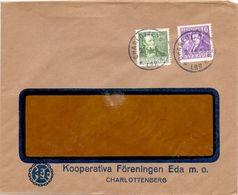 Enveloppe Kuvert - Pub Reklam Kooperativa Foreningen Eda Charlottenberg  - Sverige Zweden 1935 - Postal Stationery