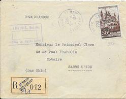 LOT 1802096-N° 917 SUR LETTRE RECOMMANDEE DE SAINT MAUR DES FOSSES DU 21 MARS 1953 POUR SARRE UNION - Poststempel (Briefe)