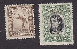 Costa Rica, Scott #69, 77, Mint Hinged, Statue Of Juan Santamaria, Juan Mora Fernandez Overprinted, Issued 1910-11 - Costa Rica