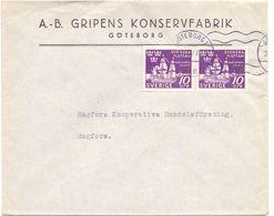 Enveloppe Kuvert - Pub Reklam A.B. Gripens Konservfabrik Goteborg - Till Hagfors Sverige Zweden 1944 - Entiers Postaux