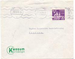 Enveloppe Kuvert - Pub Reklam Konsum Karlskoga - Till Hagfors Sverige Zweden 1945 - Postal Stationery