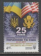 UKRAINE, 2017, MNH, 25TH ANNIVERSARY OF UKRAINE-US DIPLOMATIC RELATIONS, FLAGS, OFFICIAL SEALS, EAGLES, 1v - Stamps