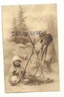Photographie. Deux Enfants Dans La Neige. Feu De Camp. 1928 - Scènes & Paysages