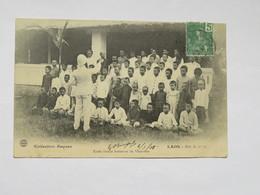 C.P.A. LAOS : Ecole Franco Laotienne De VIENTIANE, Timbre En 1908 - Laos