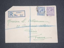 GRANDE BRETAGNE - Enveloppe En Recommandé De Barnes Pour La France En 1928 - L 12970 - 1902-1951 (Rois)
