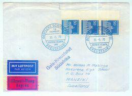 Nr. 289 MEF Randdreierstreifen Schiffspostbrief Nach Swaziland Dreierstreifen - Berlin (West)