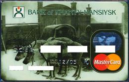 RUSSIA KHANTY-MANSIYSK BANK MASTERCARD ANIMALS NORDIC ARCTIC FAUNA REINDEER 2005 PERFECT USED CONDITION - Cartes De Crédit (expiration Min. 10 Ans)