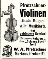 Original-Werbung/ Anzeige 1930 - PFRETZSCHNER VIOLINEN - MARKNEUKIRCHEN - Ca. 35 X 45 Mm - Publicités