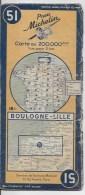 MICHELIN 51  1/200000  Boulogne Lille - Roadmaps