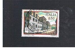 ITALIA REPUBBLICA  - SASS. 1857    -      1989     LICEO PARINI, MILANO  -      USATO - 6. 1946-.. Repubblica