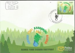 CG 2016-08 REDUCE YOUR CARBON FOOTPRINT, CRNA GORA MONTENEGRO, FDC - Montenegro
