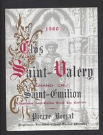 Etiquette  De Vin Saint Emilion 1960  - Grand Cru Controlée - Chateau Saint Valéry - P. Berjal à Saint Emilion (33) - Bordeaux