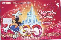 Carte Prépayée Japon  (1445)  DISNEY * MICKEY 20 YEARS *  REMEMBER THE DREAMS * JAPAN PREPAID CARD - Disney