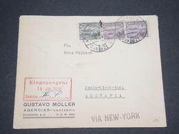 EQUATEUR - Enveloppe Commerciale De Guayaquil Pour L 'Allemagne Via New York En 1936 - L 12997 - Equateur