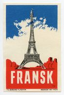 CINDERELLA : DENMARK - F.E. BORDING, KOBENHAVN - FRANSK (EIFFEL TOWER, PARIS) - Cinderellas